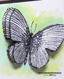 HP Stempel 56d Vlinder met minihartjes