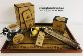 Workshoppakket dienblad met koffiedoos, theedoosje en doosje voor kandijstokje