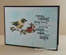 HP Stempel 83b, .....jarig....vogels zingen.....