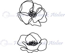 HP Stempel 108a1, 2 bloemen alleen de omlijning