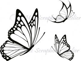 HP Stempel 6e2, set 3 vlindertjes