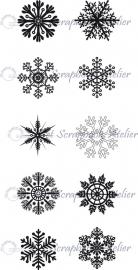HP Stempel 2g Sneeuwvlokjes, 10 kleine
