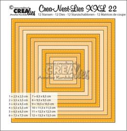 CreaNestLies XXL 22, 12 stansen vierkant met enkele stiksteek