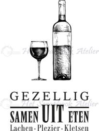HP Stempel 93i, Wijnfles & -glas, .....samen uit eten.......