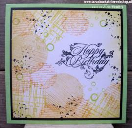 HP Stempel 35k Happy Birthday met swirls