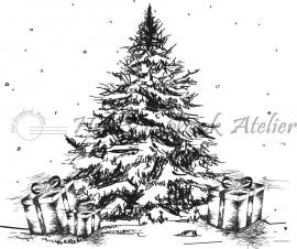 HP Stempel 79b, Kerstboom met pakjes