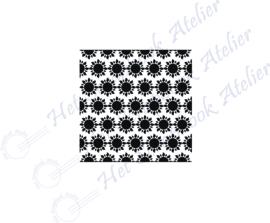 HP Stempel 118a6, vierkantje 3x3 cm: zonnetjes