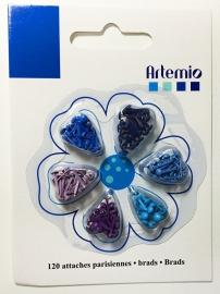 Brads mini, 6 x 20 stuks, blauw/paars tinten