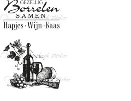 HP Stempel 93j, ....borrelen.....wijn....kaas