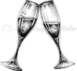 HP Stempel 79h, champagne glazen