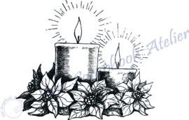 HP Stempel 100c, 2 kaarsen met bloemen mini