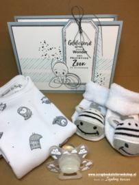 Workshoppakketje rechthoekig cadeaudoosje baby boy uitvoering