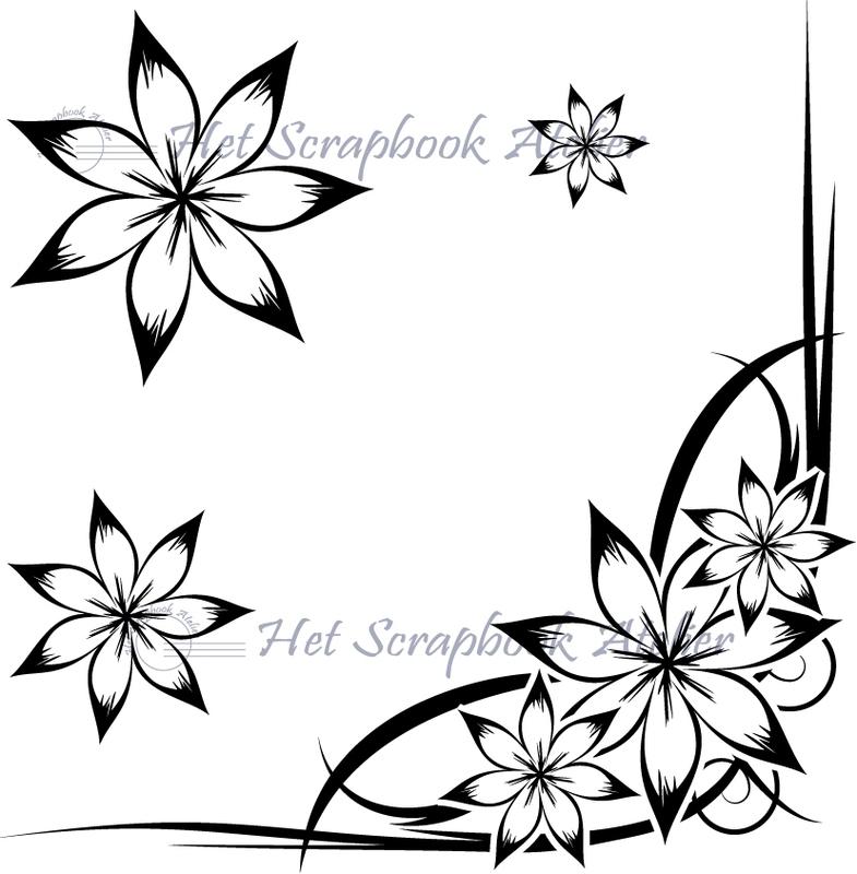 HP Stempel 10d Bloemen corner met 3 losse bloemen