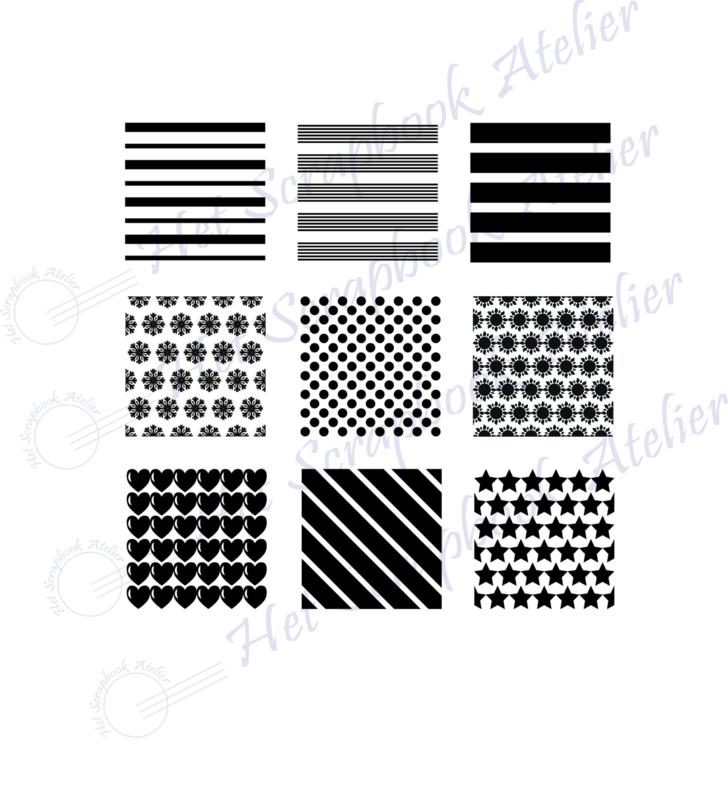 HP Stempel 118a, 9 vierkantjes 3x3 cm diverse patroontjes