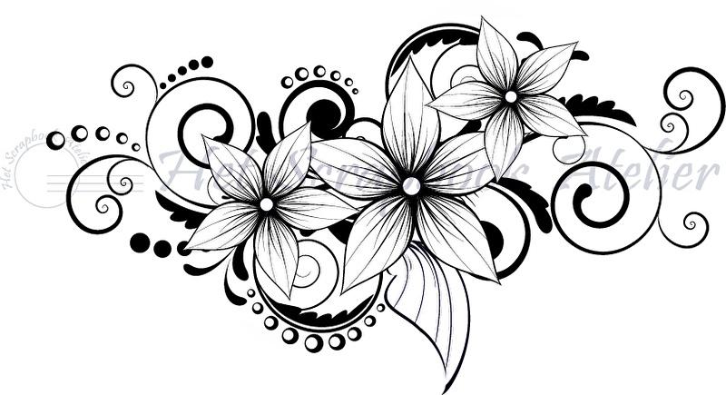 HP Stempel 70e, 3 bloemen met swirls en stipjes