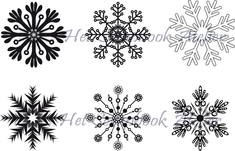HP Stempel 2b Set sneeuwvlokken groot, 6 stuks