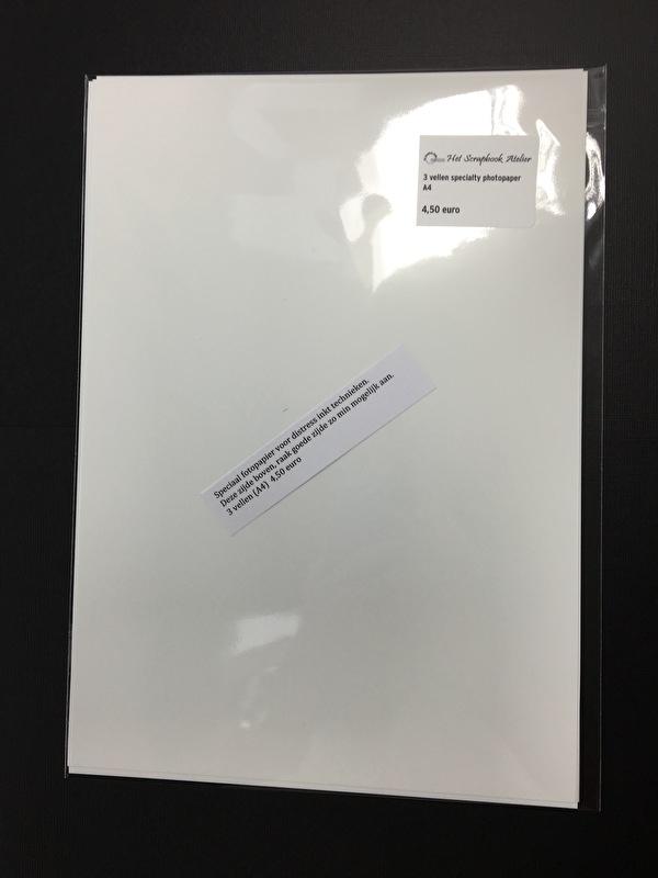 Specialty Photo Paper, dun, extra glans, 3 vellen A4 formaat