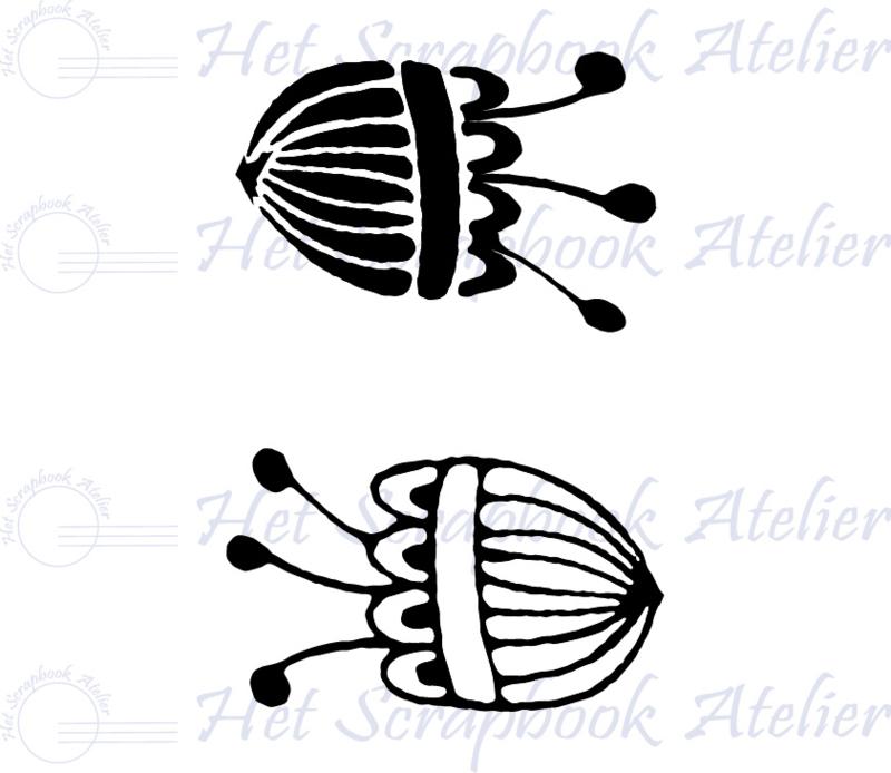 HP Stempel 120a3, set bold en open bloemen met 3 meeldraden, 3,5 cm hoog