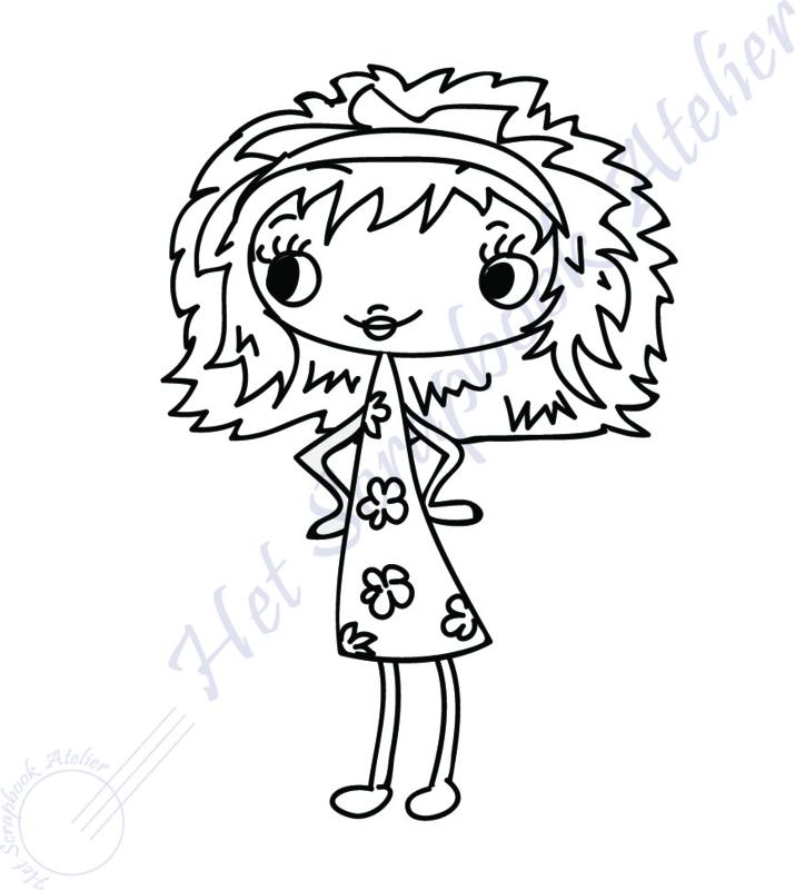 HP Stempel 116b, Meisje in bloemetjes jurk