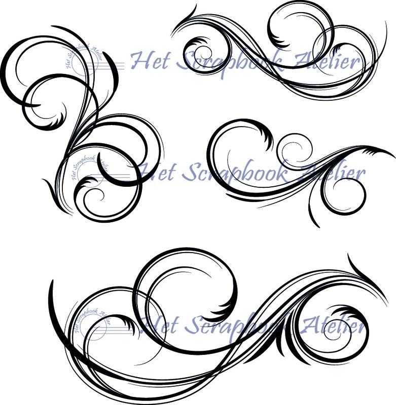 HP Stempel 34c Set 4 gedetailleerde swirls