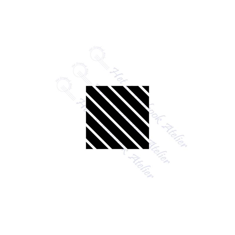 HP Stempel 118a8, vierkantje 3x3 cm: diagonale strepen