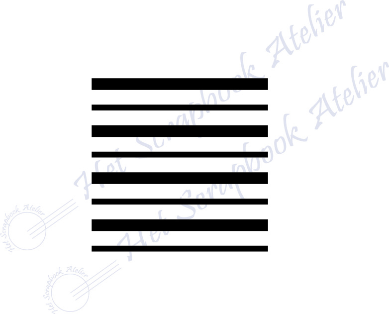 HP Stempel 118a1, vierkantje 3x3 cm: ongelijke streepjes