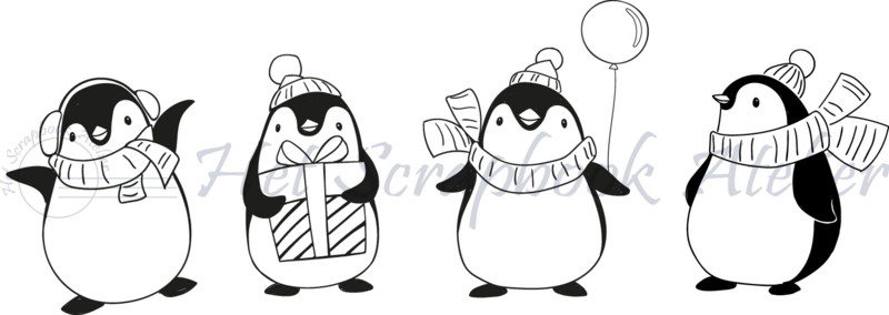 HP Stempel 79n,  4 Pinguïns