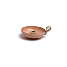 kaarsenstandaard 17 cm met hout en vilten lus