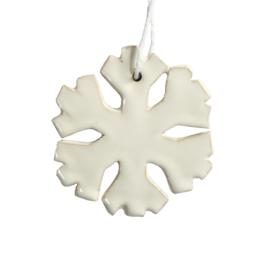 Aardewerk hanger sneeuwvlok wit