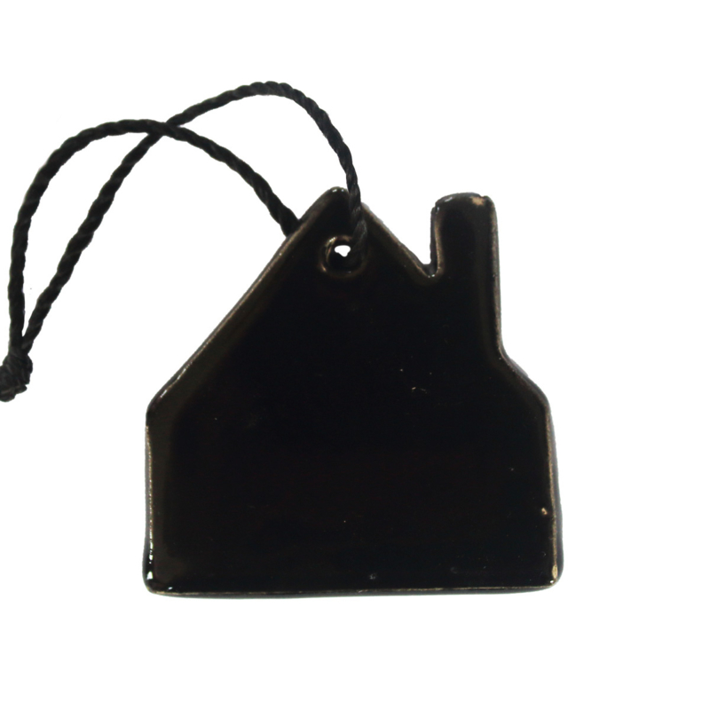 Aardewerk hanger huis zwart