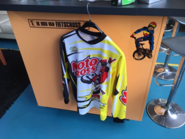 JOPA BMX, Cross Shirt, Wit/Geel/Zwart, Maat 5 kids, MX, DH, Quad, Nieuw