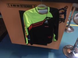 KENNY PERFORMANCE XXS BMX Wedstrijd Shirt, Fluo-Geel/Zwart/Rood, Gloednieuw