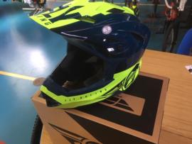 FLY Racing BMX Wedstrijd Helm,  Adult Medium, Zwart/Fluo-Geel, Gloednieuw in doos
