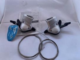 Shimano LX-Deore, SL-T660 3x9 speed ATB shifterset, Zilver/Zwart, Gloednieuw
