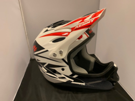KENNY BMX Fullface Helm, XXS, Wit/Zwart/Rood, Gloednieuw