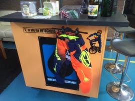 Kenny Track BMX Wedstrijd Broek, Oranje/Blauw/Geel, Youth 20, Gloednieuw