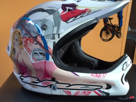 THE ONE LEATH BMX, MX Helm, Adult Small, Wit met tekening, Gloednieuw