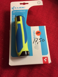 CUBE Natural fit Lock-On ATB Grips, Blauw/Groen, Gloednieuw