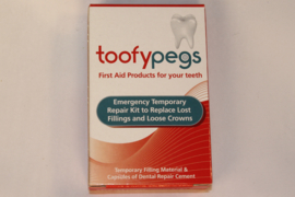 Temporary repair kit to replace lost fillings and loose crowns. (Toofypegs)