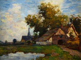 Charles Dankmeijer, Gezicht op het Benedendorp van Oosterbeek 67 x 50 cm