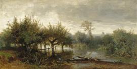 Johannes Warnardus Bilders, Knotwilgen in een drassig landschap  99 x 50 cm
