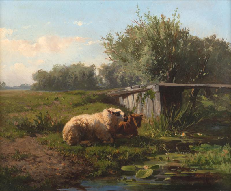 Gerard Bilders, Landschap met rustende schapen60 x 50cm