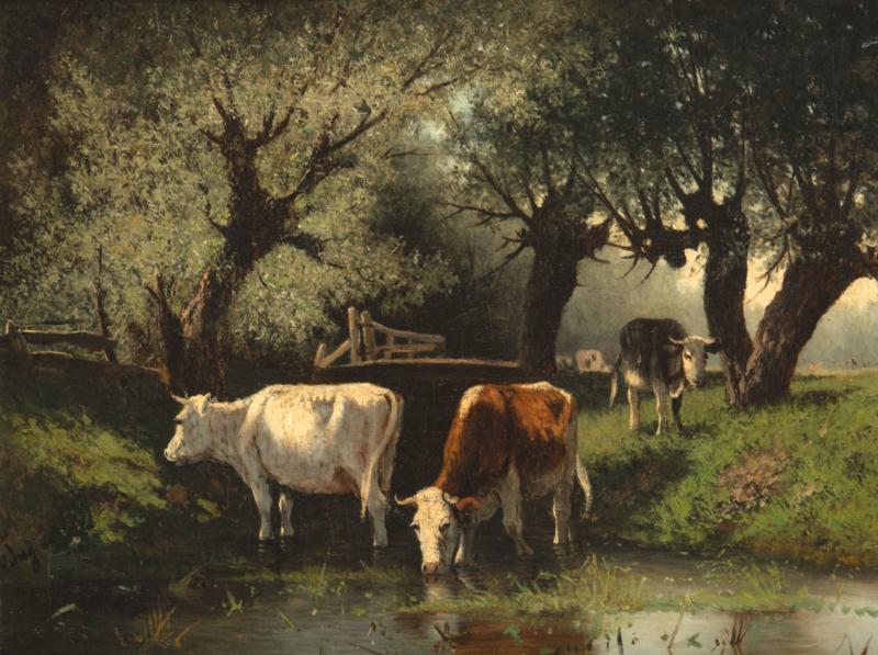 Hendrikus A. van Ingen, Koeien in een beek onder knotwilgen76 x 50 cm