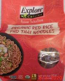 Organic red rice pad Thai noodles