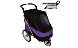Hondenbuggy met extra Trimblad - Black Purple  Lastgewicht max. 30 kg