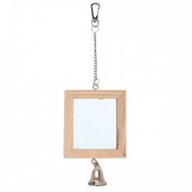 Dubbele houten vogelspiegel met bel