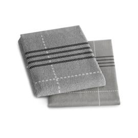 Combiset Morvan Grey, 2 x keukendoek en 2 x theedoek, biokatoen