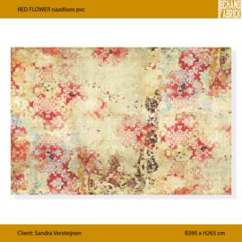RED FLOWER op naadloos pvc | B395 x h265 cm (incl 10 cm speling)