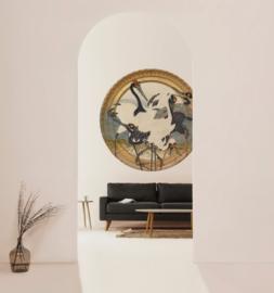 Framed Wallpaper circle CRANES