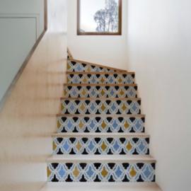 Traptrede Mozaiek blauw zwart geel